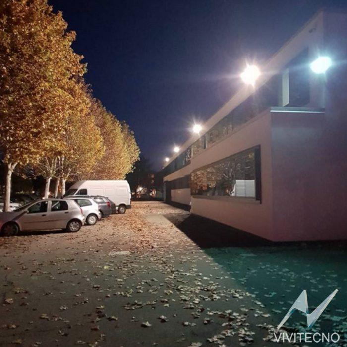Illuminazione led Vivitecno per esterno stabilimento Enco